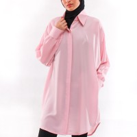 Tunik / Dress / Outer Polos Simple Kasual Daily - Peach Muda Salem