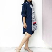 Tunik / Dress / Outer Polos Simple Kasual Daily - Biru Tua Navy