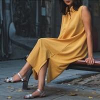 Dress Polos Simple Kasual Daily - Kuning Kunyit Mustard