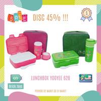 YOOYEE LUNCHBOX 628 GREEN PINK SET TEMPAT MAKAN ANAK + BOTOL MINUM&TAS - Merah Muda