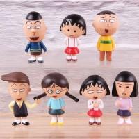 7pcs/set Anime Chibi Maruko Sakura Momoko Honami Tamae Hanawa Nyan