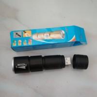 Senter Led cahaya putih / carger via USB /laptop / adaptor casan