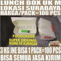 Paper lunch box Tutup 100pcs uk M food tray makan kotak makan Surabaya