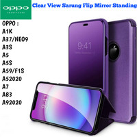 Clear View A9 2020 A5 2020 Oppo Case Sarung Flip Miror Casing Standing - Hitam