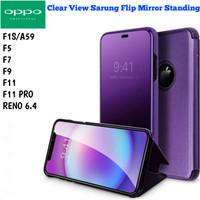 Clear View RENO 6.4 F11 F9 OPPO Case Sarung Flip Miror Casing Standing - Hitam