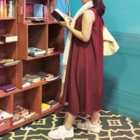 Dress Polos Simple Kasual Daily - Merah Tua Marun