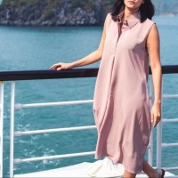 Dress Polos Simple Kasual Daily - Dusty Pink Mauve