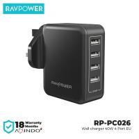 RAVPower Wall Charger 40W 4Port EU Black [RP-PC026]
