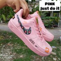 Sepatu Sneakers Wanita Nike Air Force One 1 Grade Ori Full Putih Pink