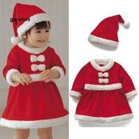 GA_Dress & Topi Beanie Desain Santa untuk Kostum Cosplay Natal Anak