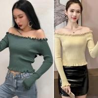 Sweater Off Shoulder Sabrina Lengan Panjang Gaya Korea