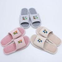 BTS bt21 Sandal Selop Unisex Motif Garis Bahan Linen untuk Indoor /