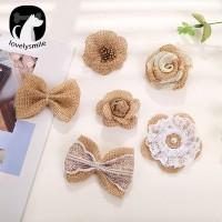 Gratis Ongkir DIY Handmade Linen Rose Flower/Bowknot Shoe Sandal