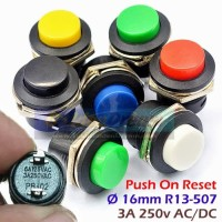 Push On R13 507 16mm Saklar Tombol Reset Momentary Switch Button AC DC