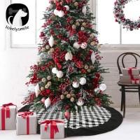 Gratis Ongkir lovelysmile Christmas Grid Tree Skirt Apron Carpet