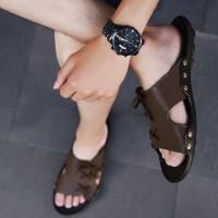 Sandal Selop Flat Model Lace-Up Warna Polos untuk Indoor / Outdoor