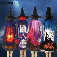 Kostum Halloween Jubah Penyihir Motif Labu Halloween untuk Pria