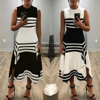 #LOWEST PRICE Women 's O Neck Color Block Striped Pattern