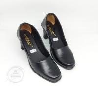 sepatu pantofel sekolah kerja wanita hak 5cm - Hitam, 37