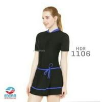 Baju Renang Wanita Semicover Rok Jumbo 1 - Hijau, 4XL