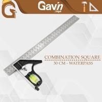 Mistar Penggaris Siku Waterpass 30cm Combination Square Alat Tukang