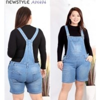 Overall short jeans Wanita bahan jeans Soft stretch fit 5XL-6XL AW423