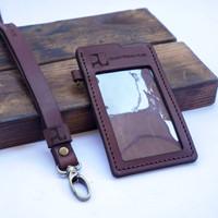 id card holder & lanyard kulit sapi grafir nama & logo sesuai pesanan