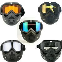 Kacamata Goggle Helm Masker Motor Set Paintball Airsoftgun Trail Cross - Biru