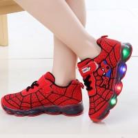 Sepatu Anak Laki-laki & Perempuan Led Model Spiderman Bahan Kanvas - 21