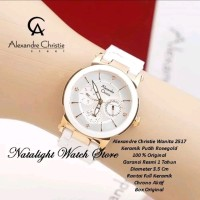 jam tangan wanita alexander christie white rose gold 2571 original