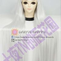 Cosplay Wig Rambut palsu putih panjang lurus karakter elf