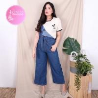 Overall Jeans Celana Kodok Monyet Pinggang Karet Baju Wanita Cewek