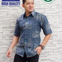 Galing Biru Kemeja Batik Pria Lengan Pendek by Aljaya Batik