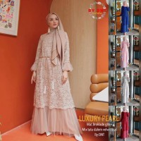 SIMIFASHION gamis pesta brokat mix tutu mewah allsize