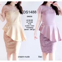 DS1488 - DRESS PESTA BASIC SEPAN SCUBA WEDGES LACE DRESS WANITA DRESS