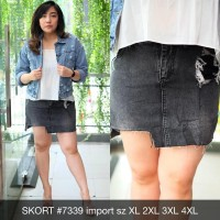 Rok Mini Jeans Wanita Skort 7339 Import Black Acid Ripped Skirt Big
