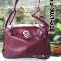 Tas wanita kulit asli Marun Premium