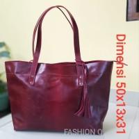 Tas Tote bag Premium wanita kulit asli marun besar