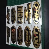 Cutting Sticker Chrome Gold Logo Helm 10cm KYT, SHOEI, ARAI, KBC DLL