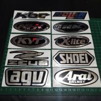 Cutting Sticker Chrome Silver Logo Helm 10cm KYT, SHOEI ARAI KBC DLL