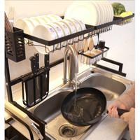 Rak Piring Wastafel 2 Susun / Rak Dapur Besar AntiKarat Rak Dapur 85CM