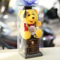 Piala Boneka Wisuda Pooh Kado Wisuda + Box Mika Kado Wisuda