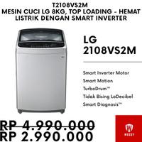 (Termurah) Mesin Cuci LG 8kg T2108VS2M Top Loading - Smart Inverter