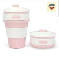 Gelas Lipat Portable / Gelas Lipat / Travel Cup / Folding Cup - Pink