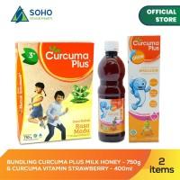 Bundling Curcuma Plus Milk Madu 750g & Syrup Strawberry 400ml