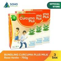 Curcuma Plus Susu Bubuk Ekstrak Temulawak Vanilla 750g - Pack Of 3 Box