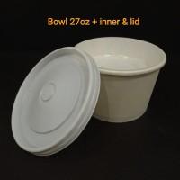 Paper bowl 27oz + inner & lid