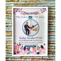 Kado Pernikahan Jam Dinding - Hadiah Pernikahan Jam - Frame Box A3