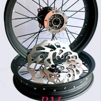Sepaket Velg Tromol set jari jari Klx 150 Supermoto dan Dtracker Bo