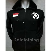 Jaket Hoodie Halfzipper Sweater Distro Bendera Indonesia Gojek Polos